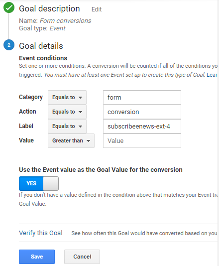 from conversion tracking event goal