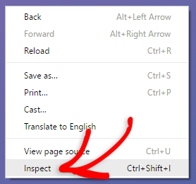 right click on the page, then click on inspect element