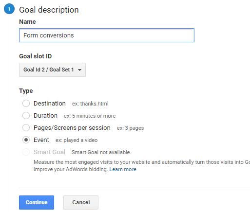 track wordpress form conversions using event goal