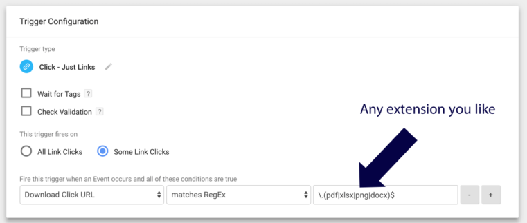 using a regular expression between google analytics and google tag manager