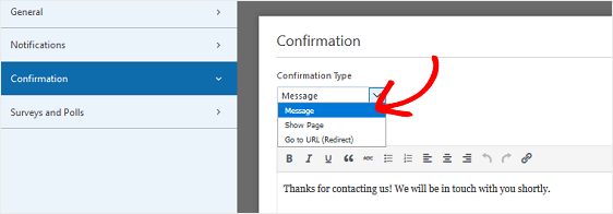 Form Confirmation Type